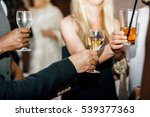 people clang glasses with wine  ... | Shutterstock . vector #539377363