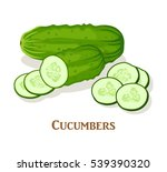 cucumber and slice isolated on... | Shutterstock .eps vector #539390320