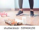 fitness female in black pants... | Shutterstock . vector #539404150
