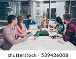 young freelancers working on... | Shutterstock . vector #539426008