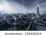 map pin flat above city scape... | Shutterstock . vector #539428324