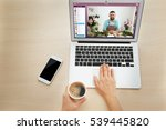 video call and chat concept.... | Shutterstock . vector #539445820