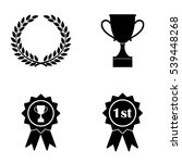 awards badges and cups icons ... | Shutterstock .eps vector #539448268