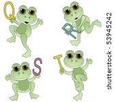 cute frogs holding letters of...   Shutterstock .eps vector #53945242