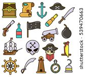 pirate icons set  treasure... | Shutterstock .eps vector #539470663