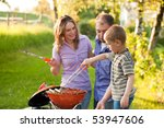 family having a barbecue party  ... | Shutterstock . vector #53947606