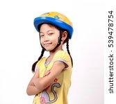 Asian Little Girl Wearing A...