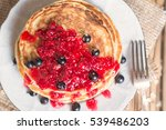 delicious oatmeal pancake with... | Shutterstock . vector #539486203