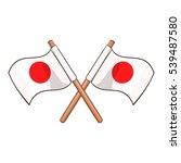 crossed flags of japan icon....