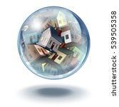 housing bubble symbol and house ...   Shutterstock . vector #539505358