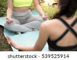 two young woman meditates while ... | Shutterstock . vector #539525914