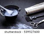 hair dye with brush on dark... | Shutterstock . vector #539527600