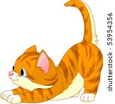Cute Red Hair Cat Stretching...