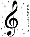 illustration of a g clef with... | Shutterstock .eps vector #53954920