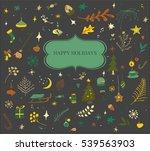 hand drawn retro doodles set.... | Shutterstock .eps vector #539563903