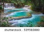 kuang si waterfall terasse ... | Shutterstock . vector #539583880