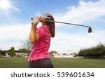 women player golf swing shot on ... | Shutterstock . vector #539601634