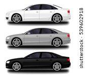 realistic car. sedan. set | Shutterstock .eps vector #539602918