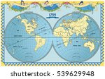 vector old globe  map of world... | Shutterstock .eps vector #539629948