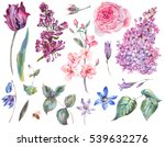 Stock photo spring set vintage watercolor bouquet of pink roses leaves blooming branches of peach lilacs 539632276