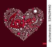 love postcard. lettering love.... | Shutterstock .eps vector #539639440