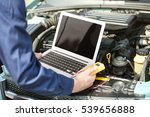 mechanic using computer... | Shutterstock . vector #539656888