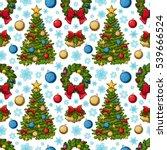 seamless pattern of christmas... | Shutterstock . vector #539666524