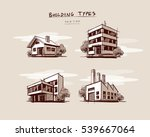 four vector buildings sketch... | Shutterstock .eps vector #539667064
