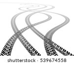two sets of tire tracks... | Shutterstock .eps vector #539674558