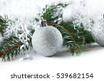 new year  christmas silver ball ... | Shutterstock . vector #539682154