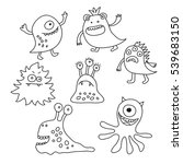 set of a different monsters... | Shutterstock . vector #539683150