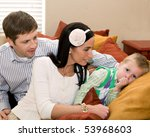 a family at home  with the... | Shutterstock . vector #53968603