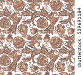 ethnic flowers seamless pattern.... | Shutterstock . vector #539691184