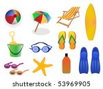 summer and beach icons | Shutterstock .eps vector #53969905