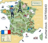 cartoon map of france   Shutterstock .eps vector #539700643
