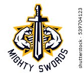 logo mighty swords. muscular...   Shutterstock .eps vector #539704123