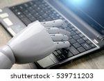 artificial intelligence hand... | Shutterstock . vector #539711203