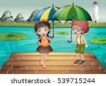 kids being in the rain ... | Shutterstock .eps vector #539715244
