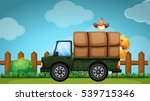farmer truck with chickens in... | Shutterstock .eps vector #539715346