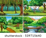 four scenes of forest and river ... | Shutterstock .eps vector #539715640