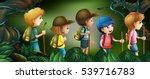 five kids hiking in the woods... | Shutterstock .eps vector #539716783
