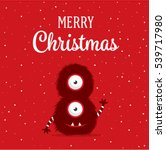 christmas card with cute... | Shutterstock .eps vector #539717980