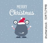 merry christmas card with cute... | Shutterstock .eps vector #539717998