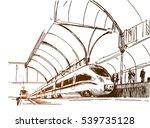 modern fast passenger train at...   Shutterstock .eps vector #539735128