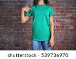 Young Woman In Blank Green T...