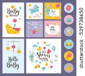 Stock vector amazing baby shower or arrival set tags banners labels cards with cute kids illustration 539738650