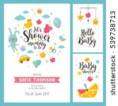 baby shower set. invitation... | Shutterstock .eps vector #539738713