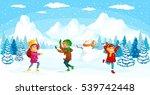winter kids vector illustration.... | Shutterstock .eps vector #539742448