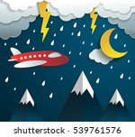 plane flying on sky with cloud...   Shutterstock .eps vector #539761576