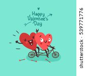 Stock vector two happy hearts in love biking happy valentine s day card 539771776